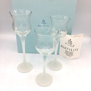 NIB PartyLite Iced Crystal Trio Candle Holder